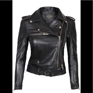💫 🧳 Real  leather black moto jacket NWT